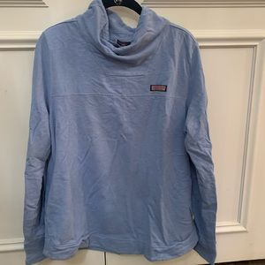 Blue cowel neck sweatshirt with drawstring detail